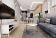 Salon z białą komodą stojącą i szarą sofś