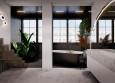 Łazienka ze schodami i dużymi oknami