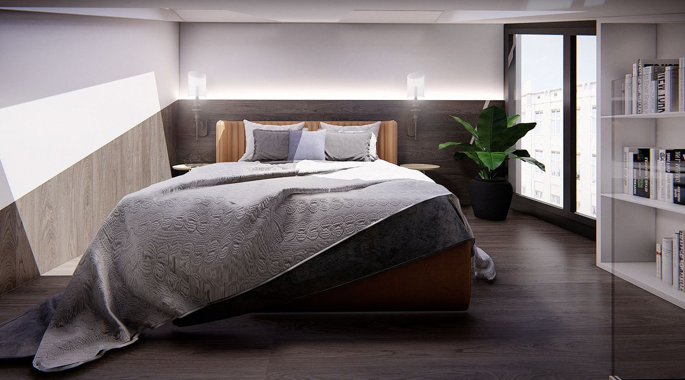 Mała sypialnia usytuowana na antresoli