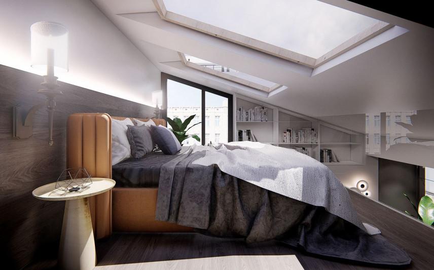 Sypialnia na antresoli z dużymi oknami w suficie
