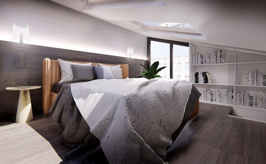 Sypialnia z łóżkiem kontynentalnym i ścianą wydzieloną na biblioteczkę