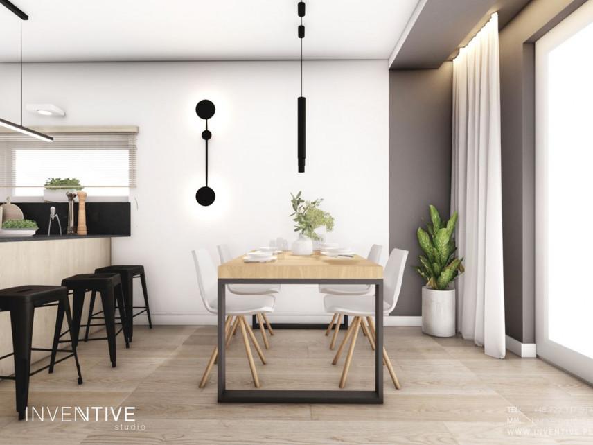 Jadalnia ze stołem z dębowym blatem w stylu loft