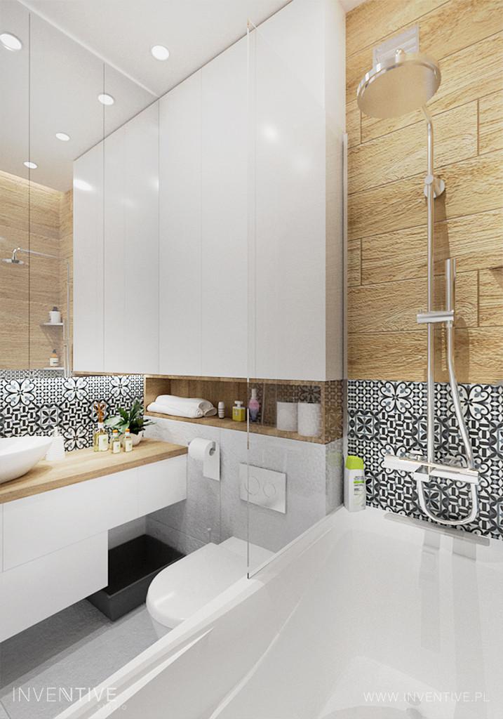 Łazienka z wanną z funkcją prysznica i z mozaiką