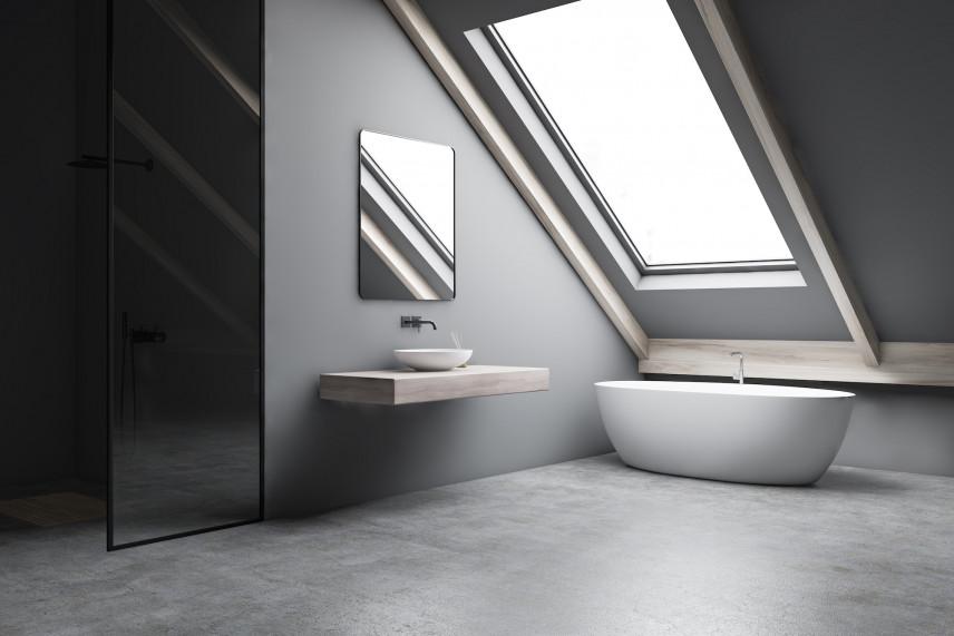 Szara, minimalistyczna łazienka.