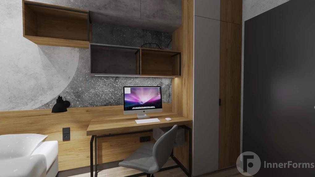 Miejsce do pracy w domu z biurkiem w stylu loft