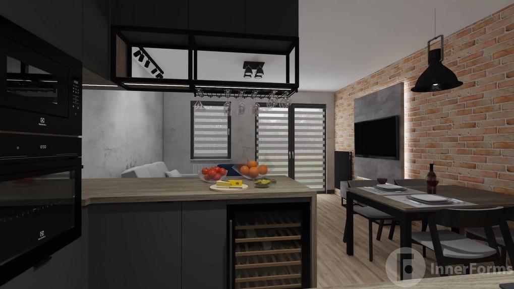 Kuchnia w stylu loft połączona z jadalnią