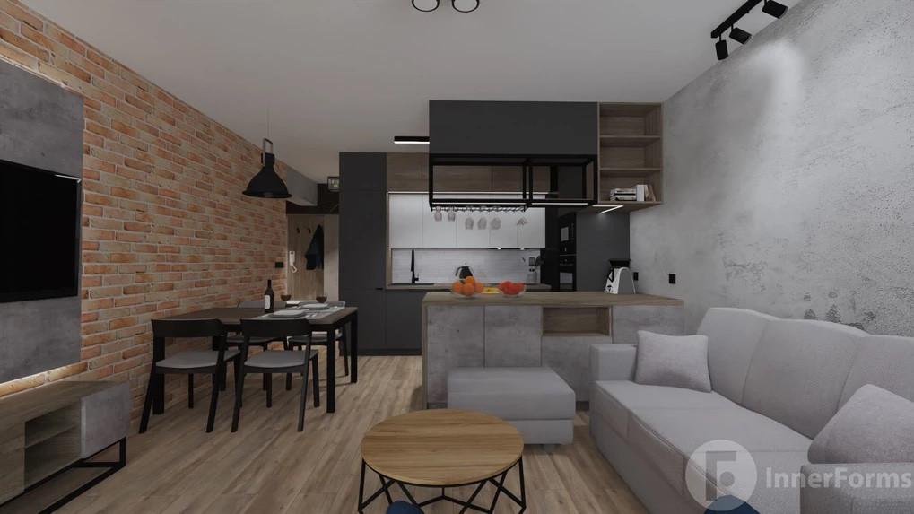 Salon, jadalnia, kuchnia w stylu loft