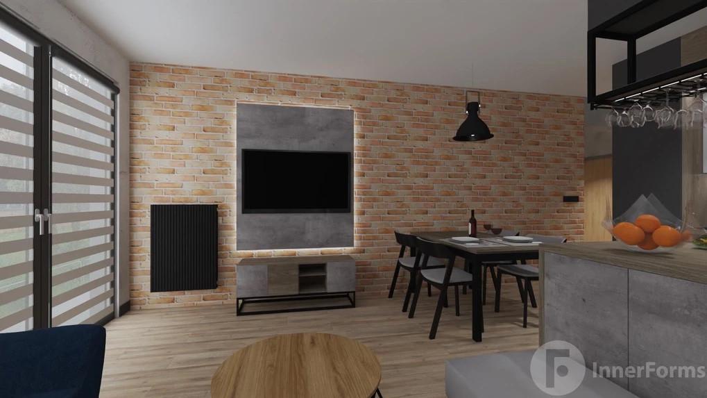 Salon z cegłą na ścianie i betonem dekoracyjnym
