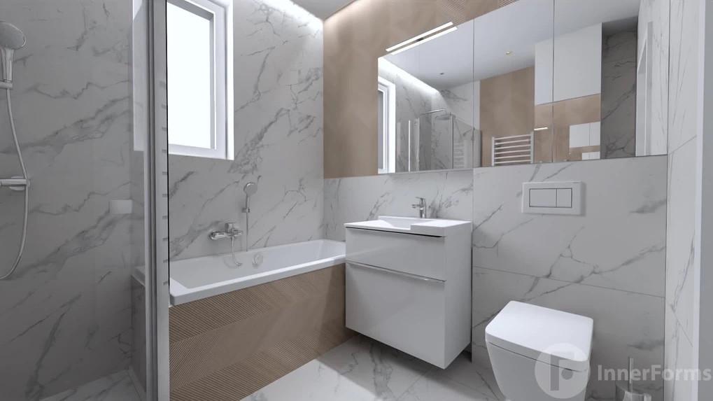 Łazienka z oknem i gresowymi płytkami na ścianie i podłodze