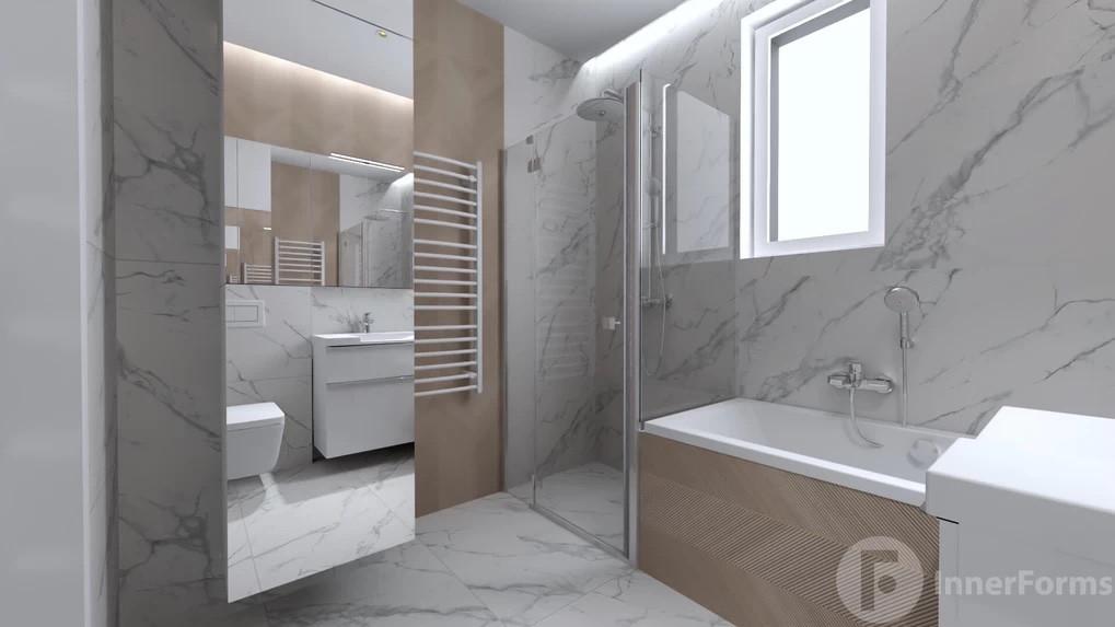 Łazienka z wanną w zabudowie z płytkami z imitacją drewna