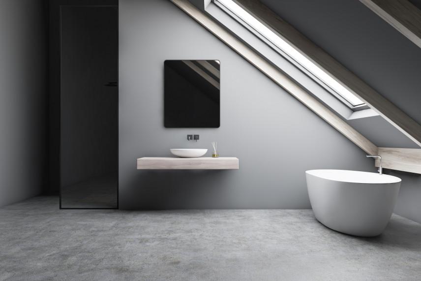 Minmalistyczna, szara łazienka