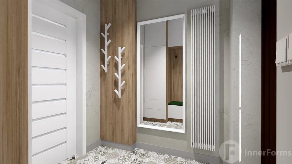 Przedpokój z drewnianymi elementami na ścianie