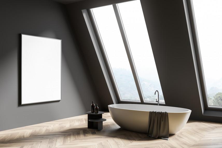 Designerska łazienka koloru szarego
