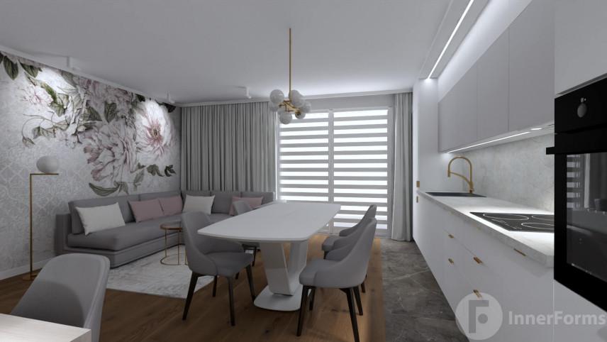Kuchnia otwarta na jadalnię i salon z modnym oświetleniem