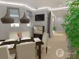 Jadalnia w stylu klasycznym z telewizorem na ścianie