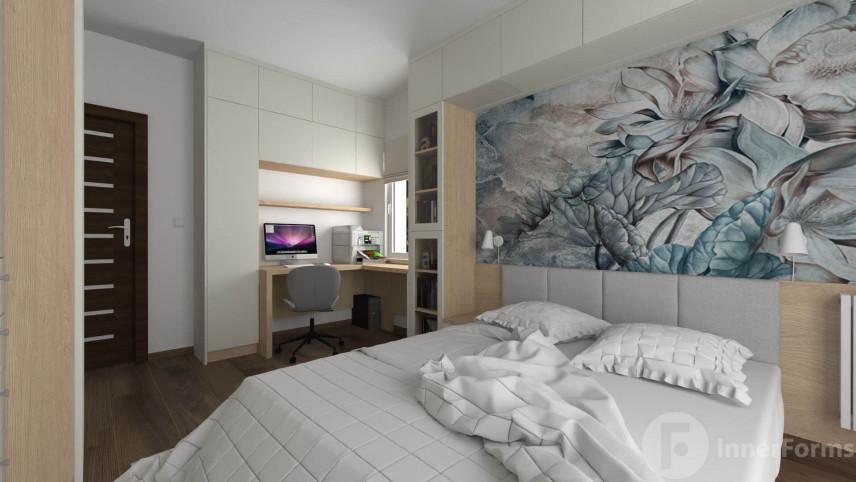Aranżacja sypialni z miejscem do pracy z obrotowym krzesłem