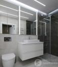 Łazienka z białą szafką wisząca i prysznicem typu walk-in