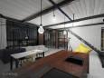 Projekt salonu w stylu loft z otwartą kuchnią z wyspą
