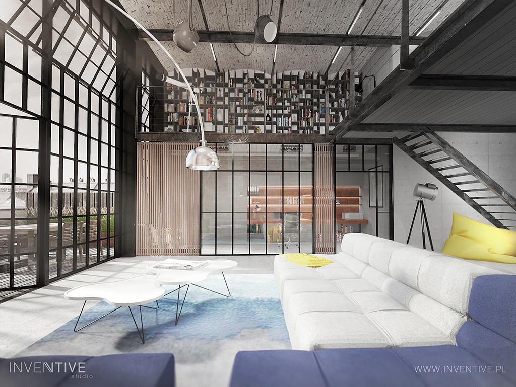 Salon z dużym oknem w stylu loft