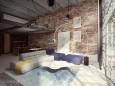 Słoneczny, duży salon z cegłą na ścianie