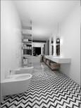 Długa łazienka w kolorze czarno-białym
