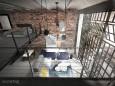 Widok na salon w stylu loft z antresoli