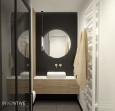 Łazienka z jedną ścianą z czarnej płytki