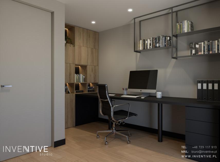Biuro w domu z meblami i szafkami wiszącymi