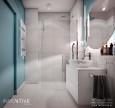Łazienka z szarymi płytkami i ścianą w kolorze turkusowym
