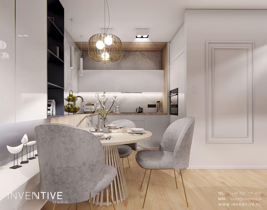 Projekt jadalni z designerskim drewnianym stołem
