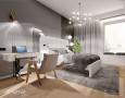 Projekt sypialni w stylu Art Deco z białym łóżkiem kontynentalnym
