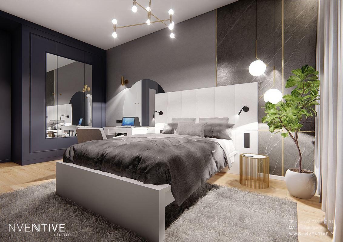 Projekt sypialni z granatową szafa w zabudowie z lustrem