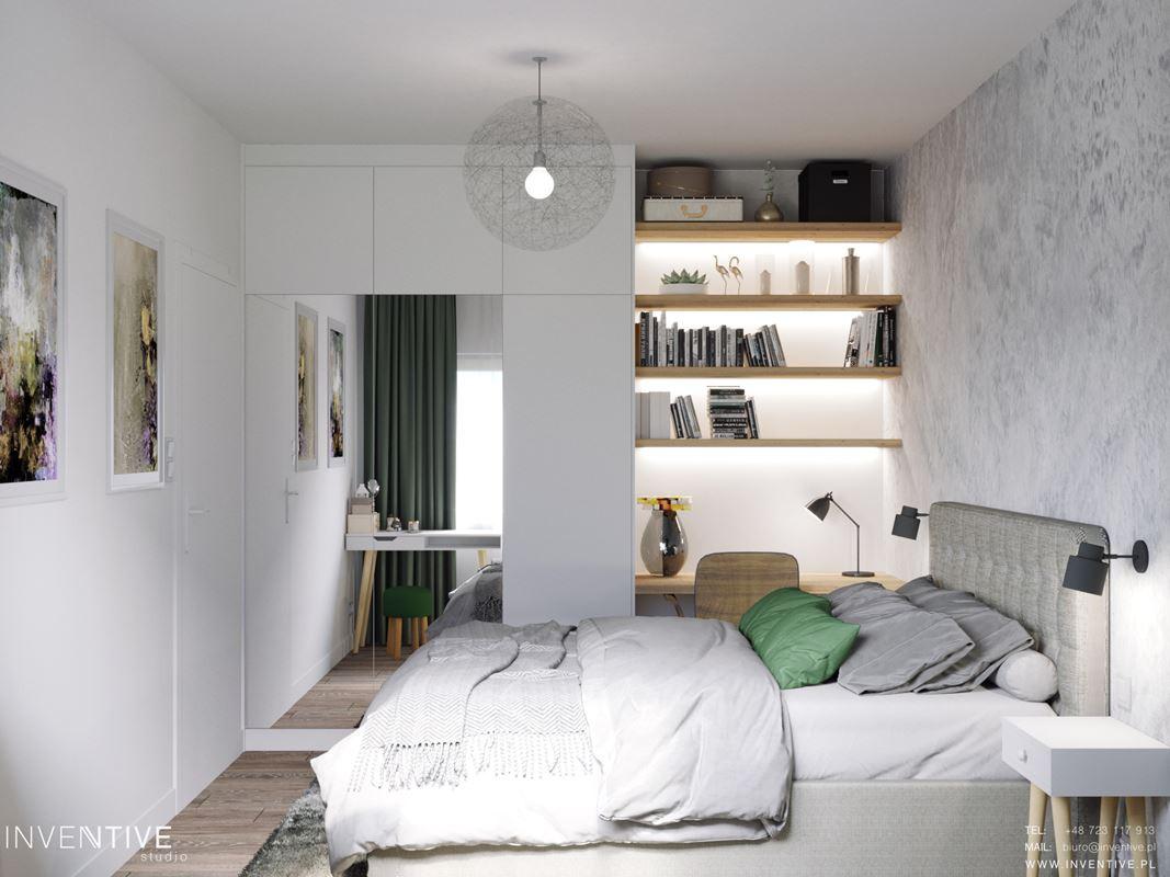 Sypialnia z łóżkiem kontynentalnym, z biurkiem i podświetlanymi półkami