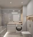Łazienka z meblami w zabudowie i z pralką