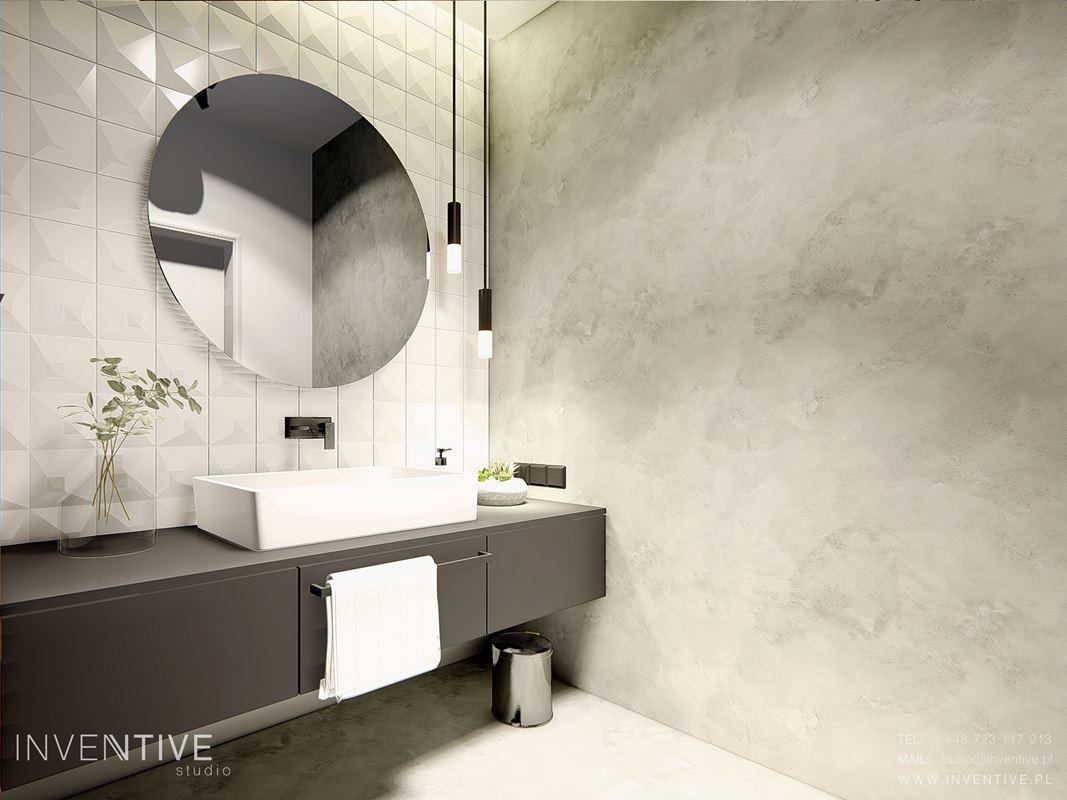 Łazienka z okrągłym lustrem i białą płytką 3d