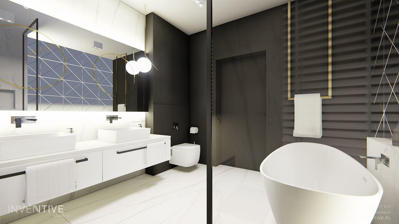 Łazienka z jasnymi płytkami i wanną owalną