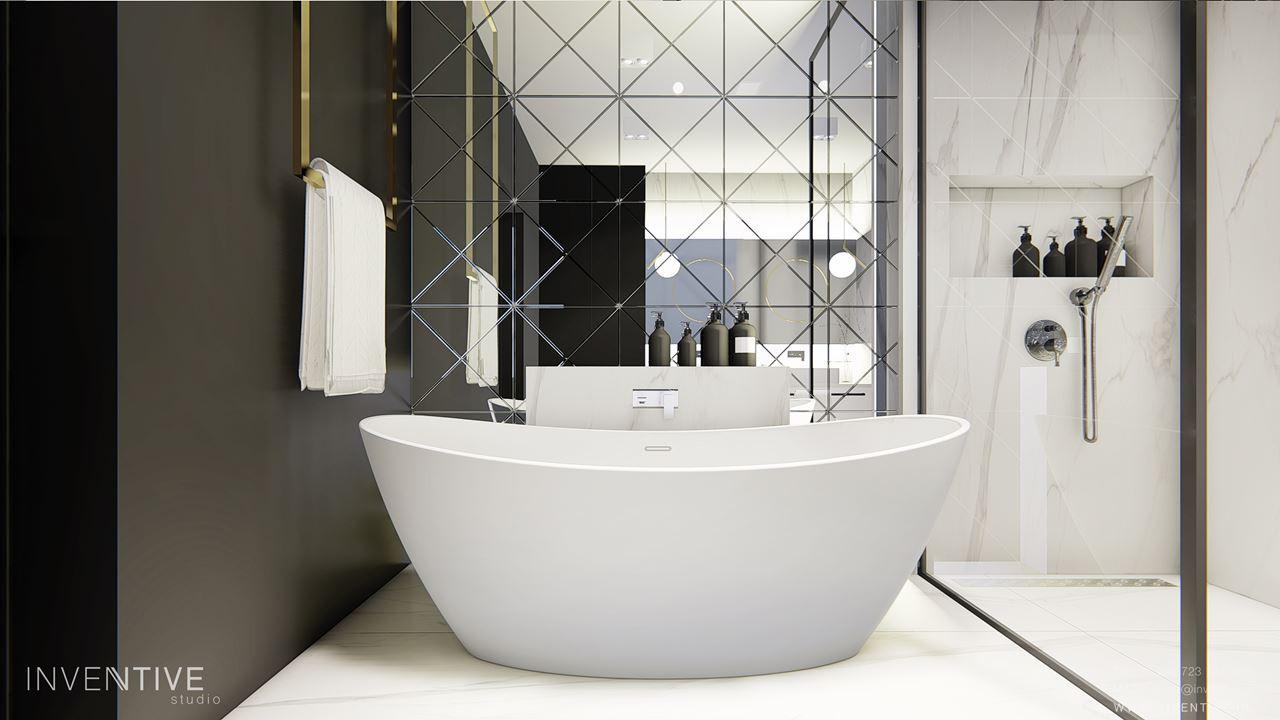 Łazienka z wanną i prysznicem i z białą podłogą