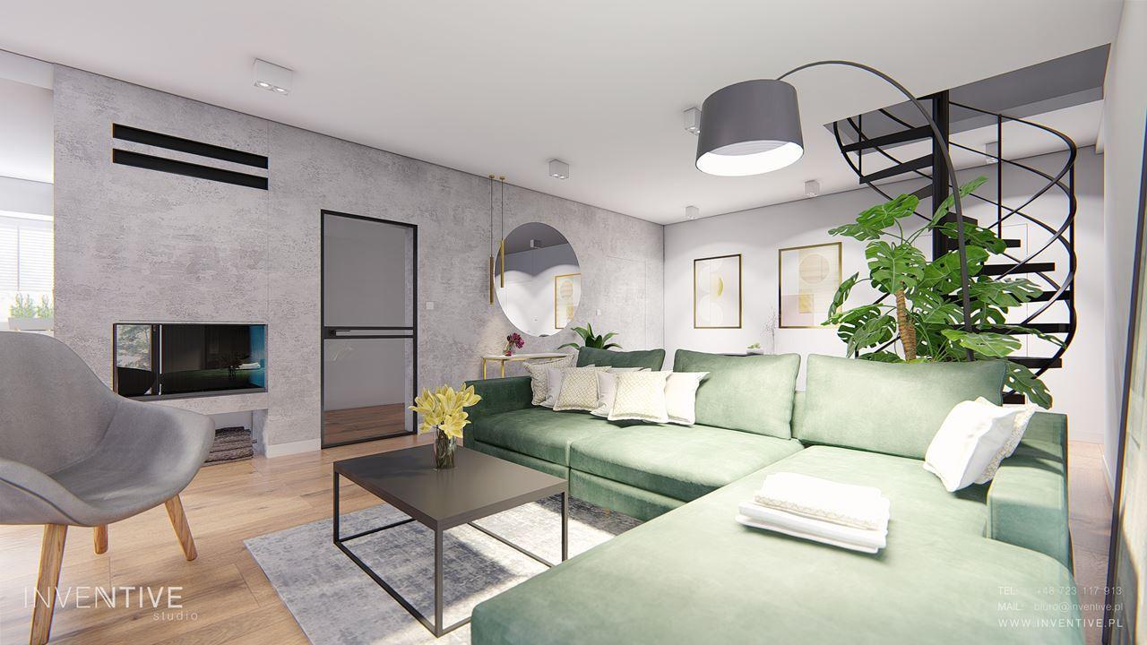 Aranżacja salonu z zieloną kanapą i szarym krzesłem