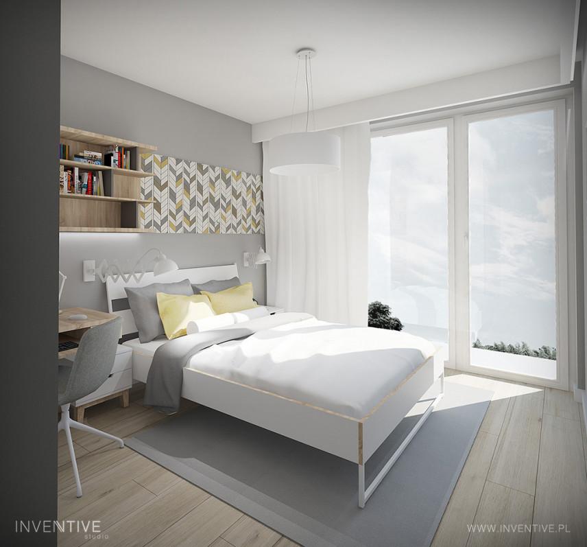 Sypialnia z białym łóżkiem kontynentalnym i z szarymi ścianami