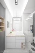 Projekt łazienki w bieli i szarości