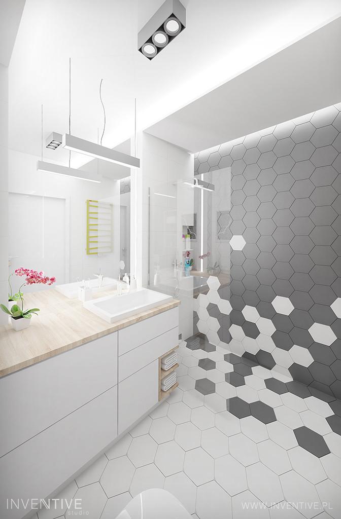 Biało-szary wzór heksagonalny w łazience
