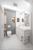 Projekt małej łazienki z meblami w zabudowie