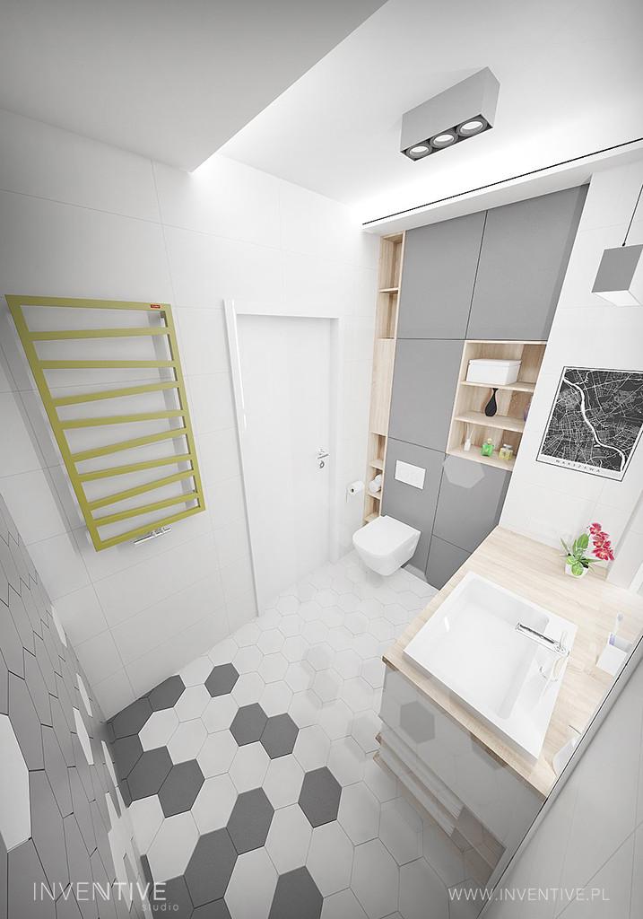 Projekt łazianki w stylu nowoczesnym z płytkami