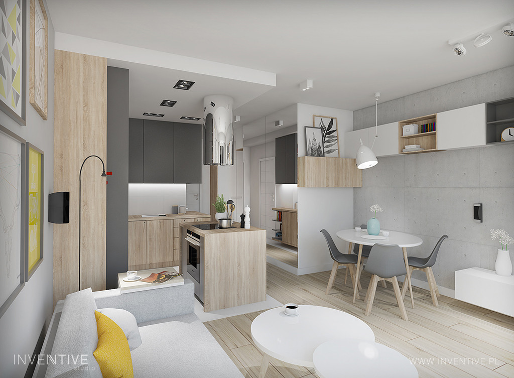 Projekt mieszkania w stylu nowoczesnym z modnymi plakatami na ścianie