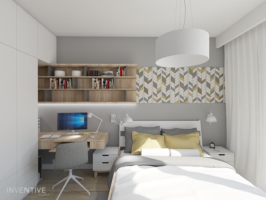 Projekt sypialni z meblami w zabudowie i biurkiem