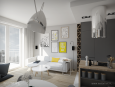Salon w stylu nowoczesnym z designerską, dużą lampą