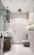Projekt łazienki z drewnianą szafką wiszącą