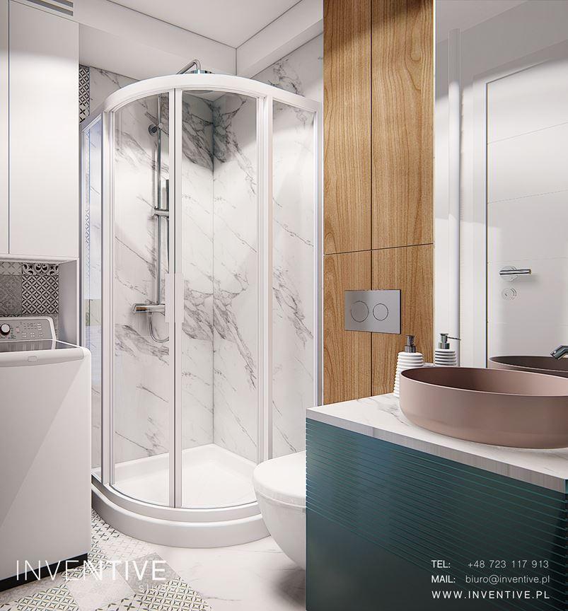 Łazienka z kabiną prysznicową narożną