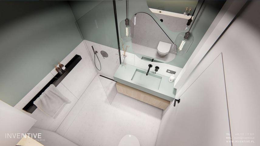 Projekt łazienki z muszlą wiszącą i prysznicem typu walk - in