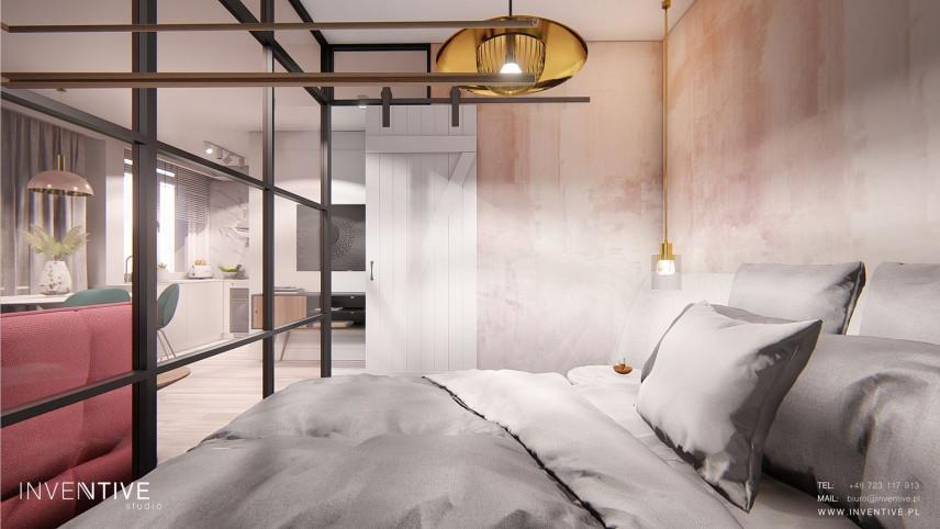 Projekt designerskiej sypialni z łóżkiem kontynentalnym